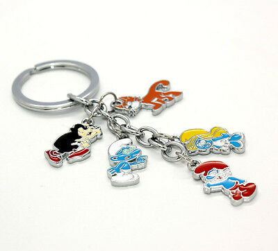 The Smurfs Key Chain With 5 Metal Charms Papa Smurfette Clumsy Gargamel Azrael