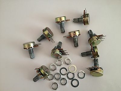 10pcs B250K Linear Potentiometer Pots 15mm Shaft with Nuts and Washers