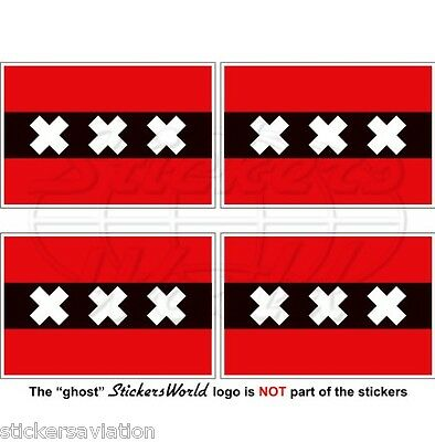 "AMSTERDAM Flag Netherlands, Nederland Dutch 50mm (2"") Vinyl Stickers, Decals x4"