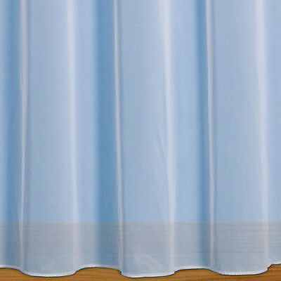 Denise - Plain Net Curtain Voile With Weighted Base & Rod Slot - Price Per Metre