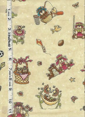 God Gave Me You Cream Character Toss Fabric by Henry Glass  1//4 yd piece