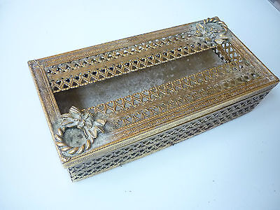 Vintage Tissue Paper Box Cover - Brass Plated Metal - Profusely Ornate