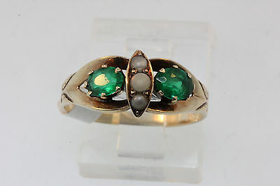 ANTIQUE VICTORIAN LATE 1800'S 10k ROSE GOLD 2-GREEN STONES & SEED PEARLS RING