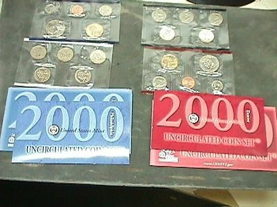 2000  U S Uncirculated Mint Set   With D & P & Mints & State Quarters  20 Coin