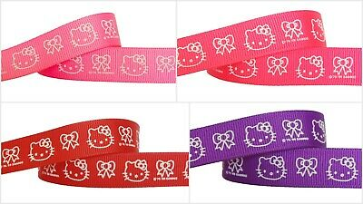 5yds~~16mm Hello Kitty Hair Bow Printed Grosgrain Ribbon 4 Colours U PICK