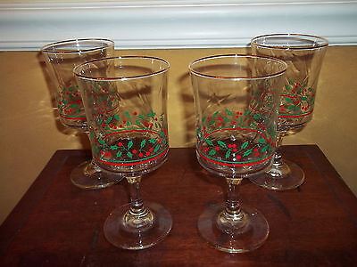 Arby Arbys Christmas Holly Berry 4 Stem Water Wine Goblets Glasses