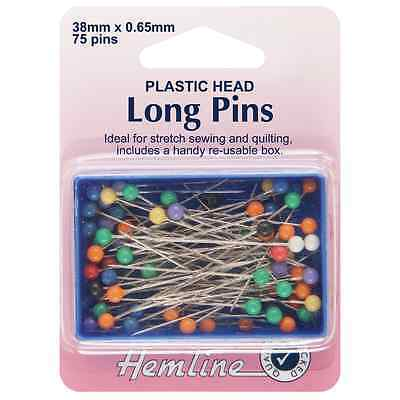 Hemline Plastic Coloured Head Extra Long Sewing/Craft Pins - 38mm