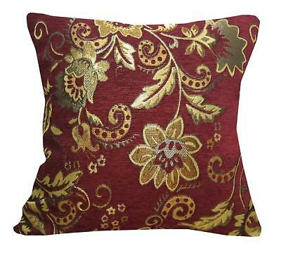 Wd47Aa Light Gold Paisley Damask Chenille Flower Throw Cushion Cover//Pillow Case