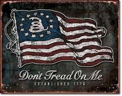 Dont Tread On Me Retro Tin Sign Snake & American Flag Gun Rights Wall Decor USA