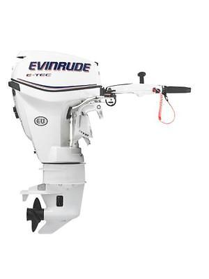 15hp Evinrude ETEC E-Tec Outboard Motor Tiller Handle Electric Start and Trim