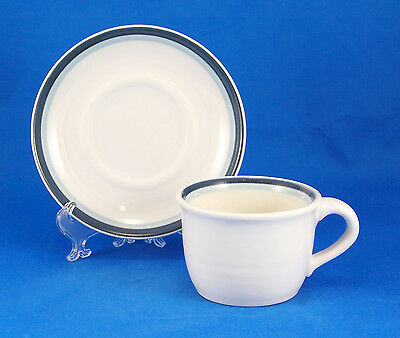 Pfaltzgraff SKY Flat Cup and Saucer Set 2.625 in. Light Dark Blue White Bands