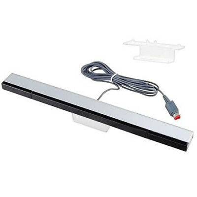 Remote Wired Infrared Ray Sensor Bar for Nintendo Wii + Wii U Console & Stand