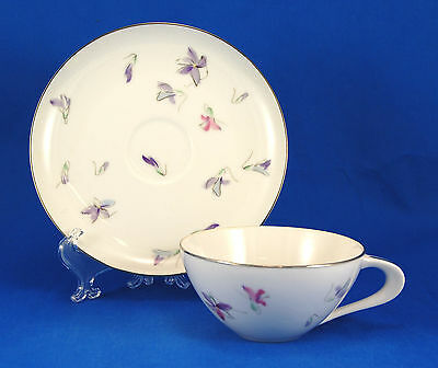 Sango WOOD VIOLET Flat Cup and Saucer Set 2 in. Purple Flowers Platinum Trim