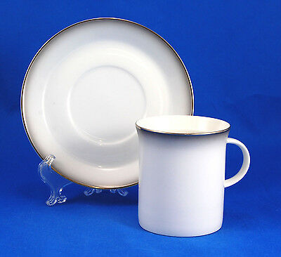 Rosenthal EVENSONG 4044 Flat Cup and Saucer Set 2 in. Gray Edge Platinum Trim