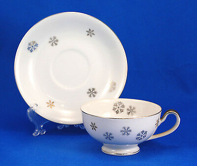 Empress China DAWN 1553 Footed Cup and Saucer Set 2.125 in. Snowflakes Gold