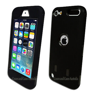 Black Heavy Duty Protective Tough Case for Apple iPod Touch 5 5th Gen Cover