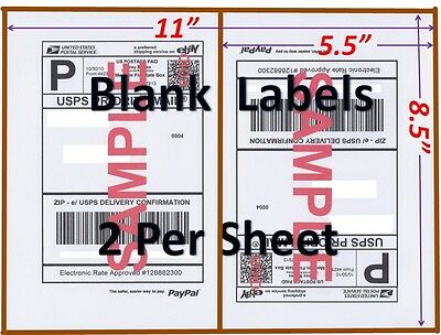 S 400 SHIPPING Labels Blank Labels -2/Sheet-USPS UPS Fedex