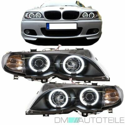 2x BMW 3er E46 CCFL Angel Eyes Scheinwerfer Schwarz SET FACELIFT 4/5 Türer 01-05