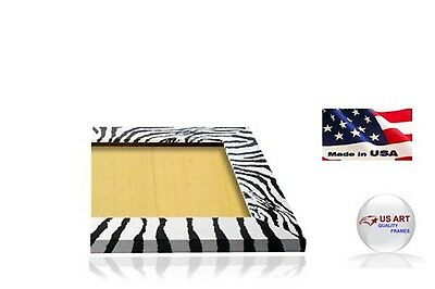 Zebra Flat Black & White  Picture Poster Photo FRAME  Wood Composite 8 in WIDE