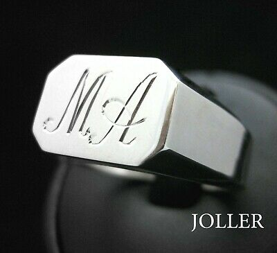 Octagon Signet Ring Custom Hand Engraved Monograms Silver By Joller