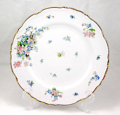 L and M Fine China SPRING GARDEN Dinner Plate 10.125 in. Pink Blue Flowers Gold