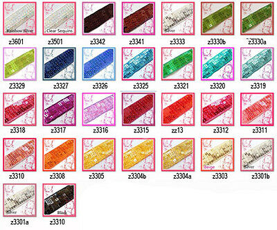 "30 colours - 1.5"" (40mm) wide Shiny Flat Square Sequin Trim Ribbon Yardage"