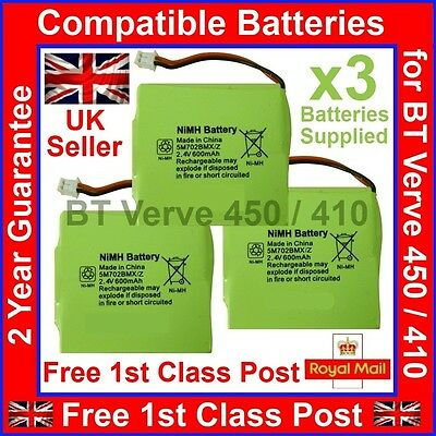 3 x Brand New BT Verve 450 410 Compatible Batteries 5M702BMX 5M702BMXZ 2.4V 600m