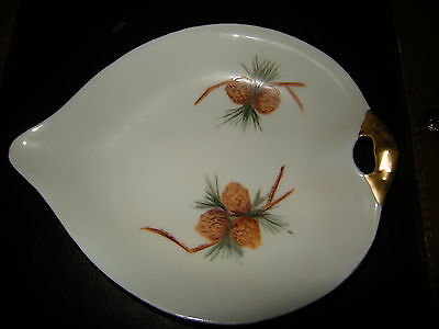 WEIMAR PORCELAIN GOLD TRIM CANDY DIS/ BOWL~PINECONE DESIGN~GERMAN SIGNED ON BACK
