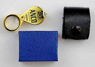 Anco Gold 10X Triplet Magnifier Loupe in Leather Case - Superior Optics!
