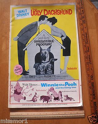 1965 Disney The Ugly Dachshund Movie Theater owner program mag Winnie the Pooh
