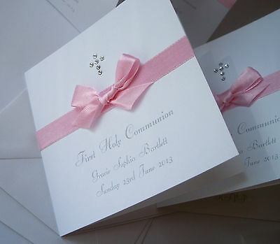 1X Christening /Baptism / First Holy Communion HANDMADE PERSONALISED INVITATIONS