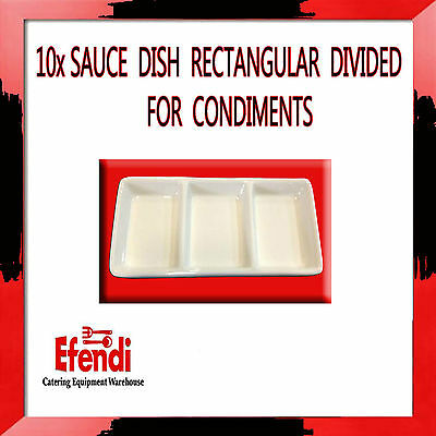 10 x SAUCE DISH RECTANGULAR DIVIDED FOR CONDIMENTS 14.5 CM