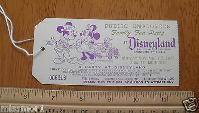 Disneyland 1971 Private Party ticket numbered Mickey Minnie Goofy TOUGH!