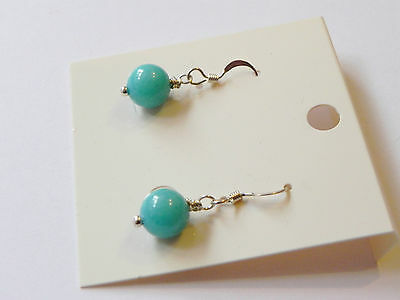 Turquoise chalcedony sterling silver gemstone drop earrings,blue/turquoise
