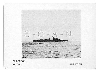 WWII Double Sided Recognition Photo Card- England- UK Warship- CA London- 1944