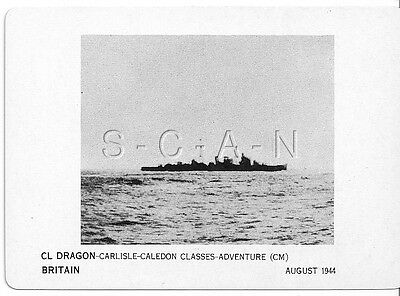 WWII Double Sided Recognition Photo Card- England- UK Warship- CL Dragon- 1944