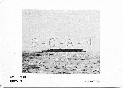 WWII Double Sided Recognition Photo Card- England- UK Warship- CV Furious- 1944