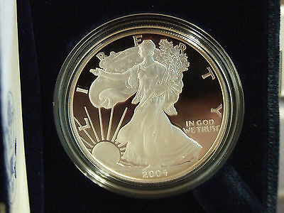 2004-W SILVER AMERICAN EAGLE PROOF * 1 OUNCE 99.9% SILVER *  NO HAZING OR TONING
