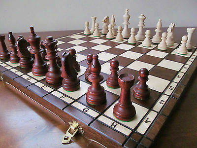 Brand New♚  Hand Crafted  Wooden Chess Set Tournament1  Weighted Pieces♞