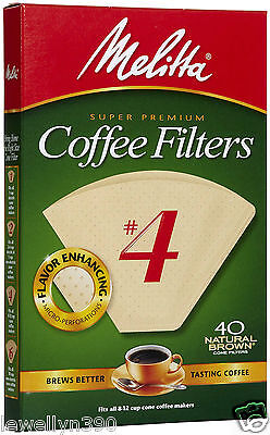 Melitta #4 Cone Coffee Filters 40 count natural brown