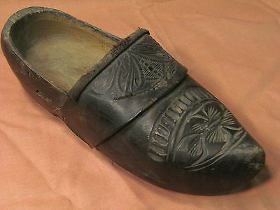 Victorian Carved Wooden Shoe Tooled Leather upper Hand Sewn Inside Pad