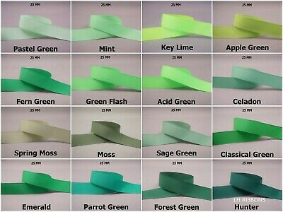 5yds~~25mm Solid Grosgrain Ribbon 16 Colours U Pick -- GREEN