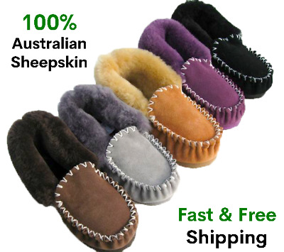 GenuineAustralian Sheepskin/Lambskin Moccasins slippers boot ladies/mens/womens