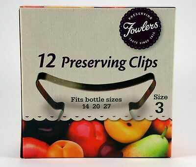 Fowlers Vacola Preserving Clips size 3, one box of 12 clips NEW