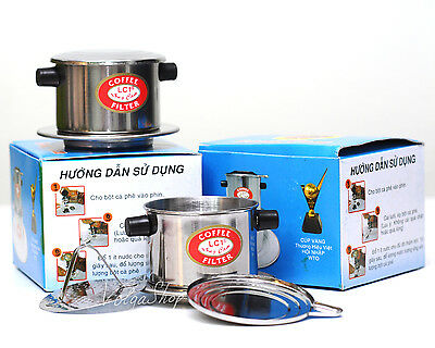 Set Of 2 Vietnamese Coffee Drip Filter Maker - Stainless Steel - Size 6 - 7
