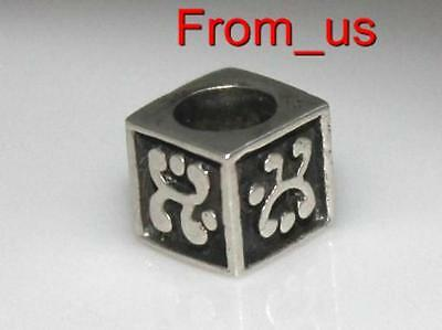 925 Sterling Silver Ornate SQUARE UNUSUAL Charm Bead - Fits most bracelet types