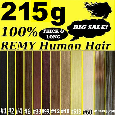 "22"" THICK DELUXE CLIP IN REMY HUMAN HAIR EXTENSIONS Brown Blonde Black"