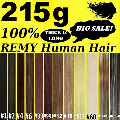 THICK DELUXE CLIP IN REMY HUMAN HAIR EXTENSIONS Brown Blonde Black