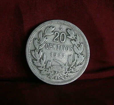 1923 20 Centavos Chile World Coin Defiant Condor on Rock  KM167.1 20 cents