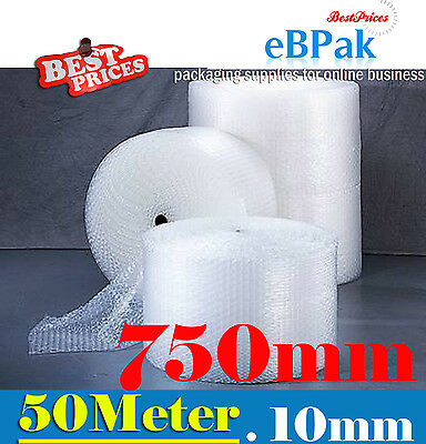 New 750mm x 50M Meter Bubble Cushioning Wrap Roll - CLEAR 10mm Bubble